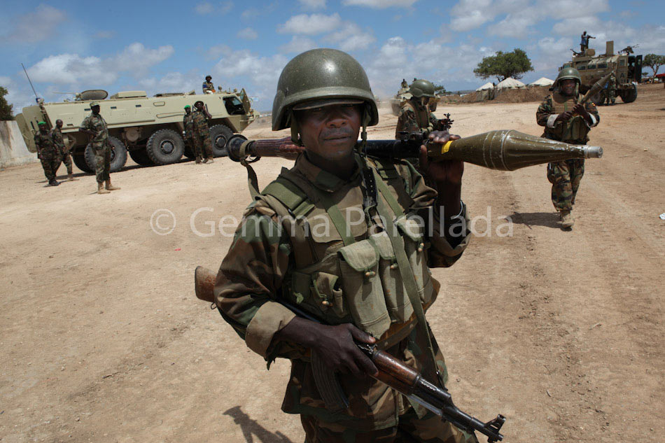 AMISOM peacekeepers in K50. On the way to the frontline (Merca)